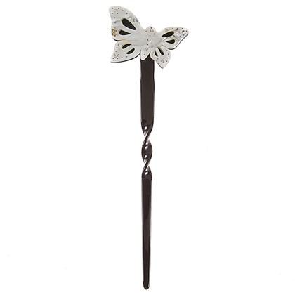 Palito Butterfly Milberti com Strass Preto com Madrepérola