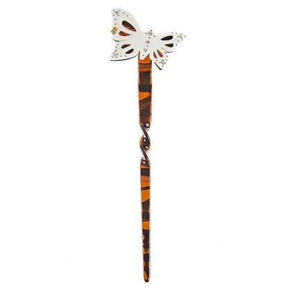 Palito Butterfly Milberti com Strass Tartaruga com Branco