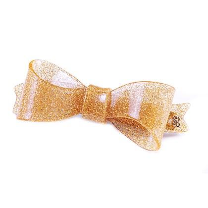 Presilha Laço Bela Média Glitter Dourado