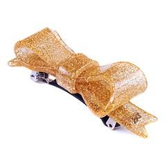 Presilha Laço Bela Pequena Glitter Dourado