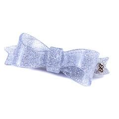 Presilha Laço Bela Pequena Glitter Prateado